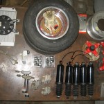 Varios parts for roopod harley shocks, polaris brakes, radiator, hubs, ball joints, tie rod ends Khumho tires 10-145-80